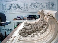 Employing traditional, artistic methods and values we work from researching historical precedents to drafting and rendering phases; approvals and sculptural development- all before we even approach a plaster cast, ensuring bespoke, breath-taking final products.