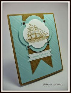Laurie's elegant card uses The Open Sea, Itty Bitty Banners & its framelits, Stylish Stripes embossing folder, & Window Frames framelits. All supplies from Stampin' Up!