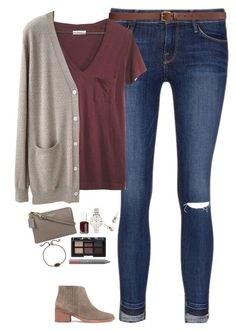"""""""V-neck tee, cardigan & ankle boots"""" by steffiestaffie on Polyvore featuring Frame, H&M, Madewell, Organic by John Patrick, Coach, Essie, NARS Cosmetics, J.Crew, FOSSIL and Kendra Scott"""