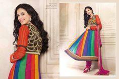Multicolor Orange Anarkali Designer Salwar Kameez - Salwar Suits