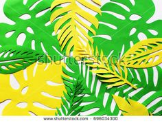 Cut yellow and green leaves on the white background. Horizontal banner for text or card.
