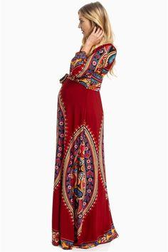 Vibrant Boho Maternity Maxi Dress