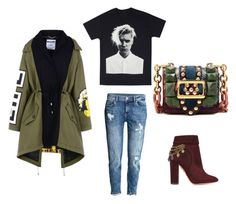 """""""Army green"""" by courtneycarey on Polyvore featuring H&M, Moschino, Burberry and Aquazzura"""