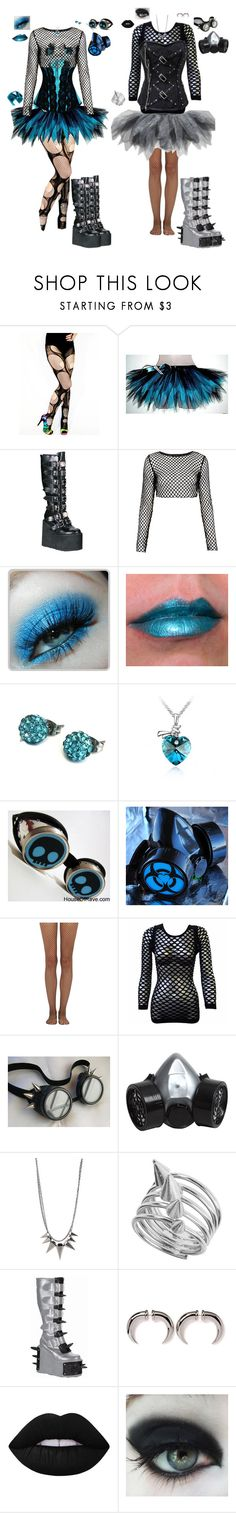 """""""Cybergoth"""" by candy-coated-doom ❤ liked on Polyvore featuring Motel, Sugarpill, Shamballa Jewels, STELLA McCARTNEY, GAS Jeans, Wolford, Poizen Industries, BaubleBar, Miss Selfridge and M.S.P."""