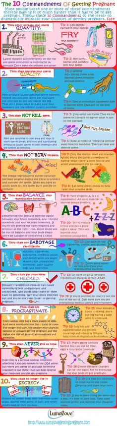 http://get-healthpregnant.blogspot.com/2013/04/signs-pregnancy-week-by-week-symptoms.html Ha Ha! The 10 Commandments of Getting Pregnant #ttc Infographic! #infertility #fertility