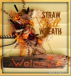 How to make a Fall Straw Wreath with dollar store flowers! Diy Wreath, Burlap Wreath, Wreath Ideas, Wreath Making, Door Wreaths, Easy Fall Wreaths, Holiday Wreaths, Fall Crafts, Holiday Crafts