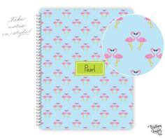 Preppy Collection - Monogrammed Personalized Notebook - Flamingos in Love