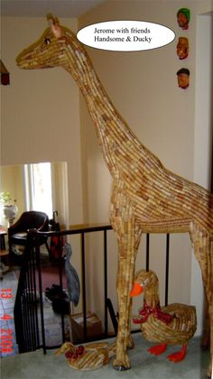 """6' 2"""" wine cork giraffe!  Someday....just because this is AWESOME!!!!"""