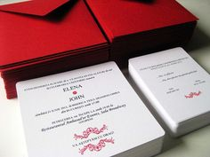 Red and white wedding invitation by Smartartinvitations on Etsy, $2.00