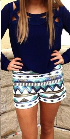 mini short and navy blouse