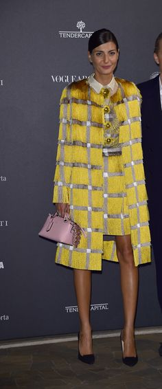 Giovanna Battaglia with her new Fendi By The Way bag at Vogue Italia's 50th anniversary party