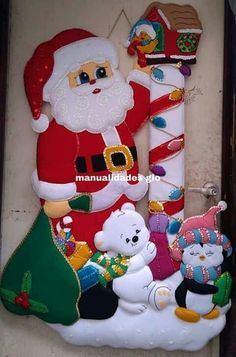 Handmade Christmas Decorations, Christmas Ornament Crafts, Christmas Signs, Felt Ornaments, Christmas Pictures, Christmas Projects, Holiday Decor, Christmas Fabric, Christmas Stockings