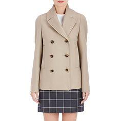 Balenciaga Double-Breasted Peacoat ($2,050) ❤ liked on Polyvore featuring outerwear, coats, grey, pea coat, grey peacoat, balenciaga, gray pea coat and double breasted pea coat