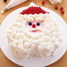 Kids will love this two-layer peppermint-flavored chocolate cake that's been cleverly frosted to look like Santa Claus.