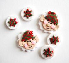 Button Christmas Elf handmade polymer clay