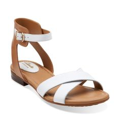 8450abb0e Viveca Zeal White Leather - Womens Medium Width Shoes - Clarks Cheap Sandals