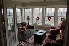 Mini Enclosed patio:  French doors interior and Windows with grids