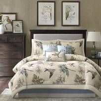 Royal Heritage Home Williamsburg Abby Ivory/White/Green Standard Cotton Reversible Traditional 4 Piece Comforter Set & Reviews | Wayfair Queen Comforter Sets, Bedding Sets, Bedroom Comforters, Brown Comforter, Console, Cheap Decorative Pillows, Floral Comforter, Bed In A Bag, Luxury Bedding