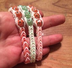 Rare Coral, Mint Green or Peach color with White beaded fishtail Rainbow Loom Bracelet Loom Bands Instructions, Rainbow Loom Bracelets, Exercise For Kids, White Beads, Peach Colors, Fishtail, Latex Free, Mint Green, Black Silver