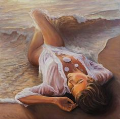 Buy Born from the waves, a Oil on Canvas by Marco Busoni from Italy. It portrays: Women, relevant to: beach, sensual, sunset, born, water, wave, woman, venus, stranded, foam, lady, mermaid They say that Venus was generated from the waves of the sea. Here you can see her shaped by the water and colored by light
