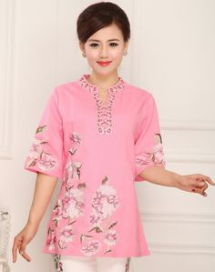 Shop pink cotton & linen chinese style blouse with floral embroidery. Find latest oriental fashion products from idreammart.com.