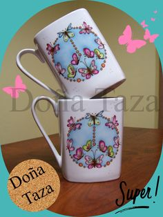 taza simbolo paz con mariposas Pottery Painting, Ceramic Painting, Stars Disney, China Clay, Ceramic Pottery, Cleaning Hacks, Tea Cups, Coffee Mugs, Doodles