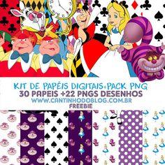 Kit de papeis Digitais Alice no País das Maravilhas   Pack png