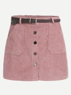 Shop Pink Corduroy Single Breasted Pockets Skirt With Belt online. ROMWE offers Pink Corduroy Single Breasted Pockets Skirt With Belt & more to fit your fashionable needs. Red Skirts, Mini Skirts, Pencil Skirts, Floral Skirts, Pencil Dresses, Short Skirts, Classy Dress, Classy Outfits, Rosa Rock