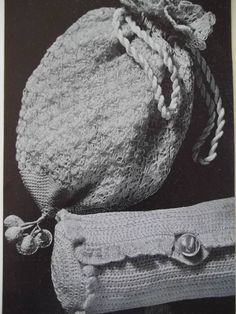 1935 Crochet Clutch and Cinch bag