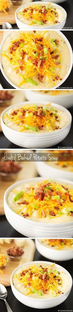 ULTIMATE LOADED BAKED POTATO SOUP with tender potato chunks, fresh sharp cheddar cheese, crispy bacon, and green onion for garnish!