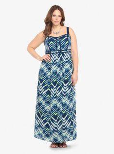 Chevron Print Chiffon Maxi Dress