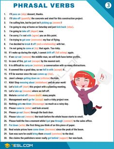 Phrasal Verbs Examples verb Common Phrasal Verbs List from A-Z English Speaking Skills, Teaching English Grammar, English Writing Skills, English Vocabulary Words, Learn English Words, English Language Learning, English Study, Education English, English Lessons