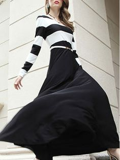Black Printed Stripes Long Sleeve Maxi Dress