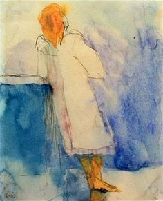 Emile Nolde Stehendes Mädchen (Standing Girl) watercolour on Japan paper 18 x 14.5 cm. (7.1 x 5.7 in.) Executed between 1908-1910