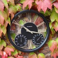 modern outdoor clocks and thermometers   Doddleston Clock - Contemporary clock with thermometer and humidity ...