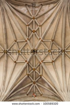 CANTERBURY, UK - APRIL 11: Detail of the vaulting in the Nave of Canterbury Cathedral on 11 April 2012.  The Cathedral, in Canterbury, Kent,...