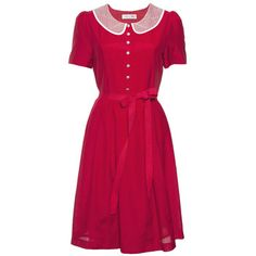 IT'S A CAT FIGHT! DRESS    Sleeved lined dress with full skirt and pleating to waist band and tie waist, features pretty lace collar and beautiful rhinestone diamond look buttons