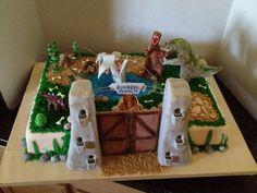 Brandon's Jurassic World birthday themed cake.  August 4, 2015