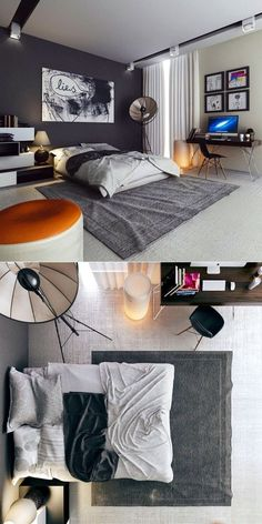 Bedroom Ideas Bedroom Ideas:Masculine Bedroom Design With Orange Chair And Abstract Paint Delightful Bedrooms for All Day Relaxing Masculine Interior, Masculine Bedrooms, Masculine Room, Masculine Style, Appartement Design, Decoration Inspiration, Decor Ideas, 31 Ideas, Design Inspiration