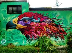 """Wings Of Destiny"" by Farid Rueda in Mexico DF This piece was made in an old neighborhood in Mexico City, called ""The Eagle"". This location is named after a factory that served as support to several families at the beginning of what later would become the great metropolis. Currently the factory does not exist anymore and only the older residents still refer to it as ""The Eagle"" 7/2015"