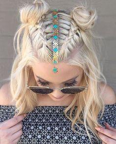 � So bohemian! � Hair tattoo on Mohawk braid into top knot half-updo for medium to long hair  