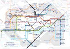 Mapa de restaurantes en Londres, de acuerdo al metro