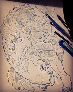Trong hình ảnh có thể có: vẽ Japanese Tattoo Designs, Japanese Tattoo Art, Koi Fish Tattoo, Traditional Japanese Tattoos, Japan Tattoo, Japanese Koi, Back Pieces, Painting & Drawing, Coloring Books