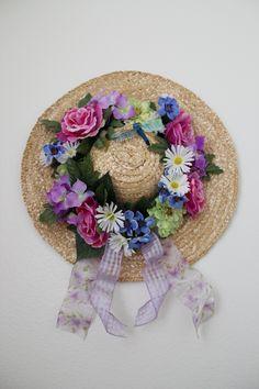 Vintage Butterfly Straw Hat Wreath Spring Flowers Wicker