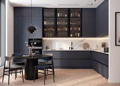 Kitchen Design Open, Luxury Kitchen Design, Kitchen Cabinet Design, Interior Design Kitchen, Open Kitchen, Modern Kitchen Interiors, Home Decor Kitchen, Modern Kitchen Designs, Modern Grey Kitchen