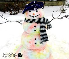Fill a spray bottle with diluted food color for easy snow-painting! | 29 Ways To Rock A Snow Day With Kids (Even If The Power Goes Out)