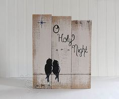 Silent Night Sign Holy Night Sign Holiday Sign Christmas Wood Sign Wedding Gift for Couple Love Birds on a Wire Art 5th Anniversary Gift Wood Holiday Signs Holiday Decoration  Silent Night Love Birds on a Wire An original painting on apx. 15 1/8 x 10 reclaimed wood from LF Gallery by Linda Fehlen  {SIZE} - 14 3/4 x 10 1/2 ***PLEASE NOTE the gap between the two left boards towards the top. I like how it adds rustic character but want to make sure you do also before you decide to purchase…