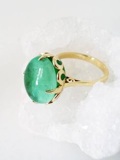 Emerald ring Unique engagement ring 18K Solid Yellow Gold