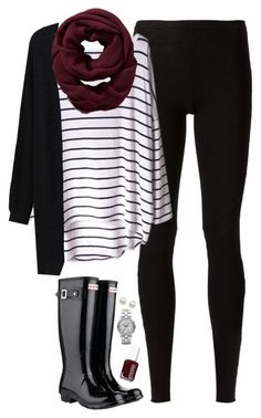 """Black, burgundy & stripes"" by steffiestaffie ❤ liked on Polyvore featuring Rick Owens Lilies, Old Navy, Hunter, Majorica, Marc by Marc Jacobs and Essie"