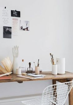un-office home office. white walls and ceramics in artist desk area.white walls and ceramics in artist desk area. Home Office Space, Home Office Design, Home Office Decor, Home Decor, Office Ideas, Office Themes, Bedroom Office, Office Furniture, Furniture Design